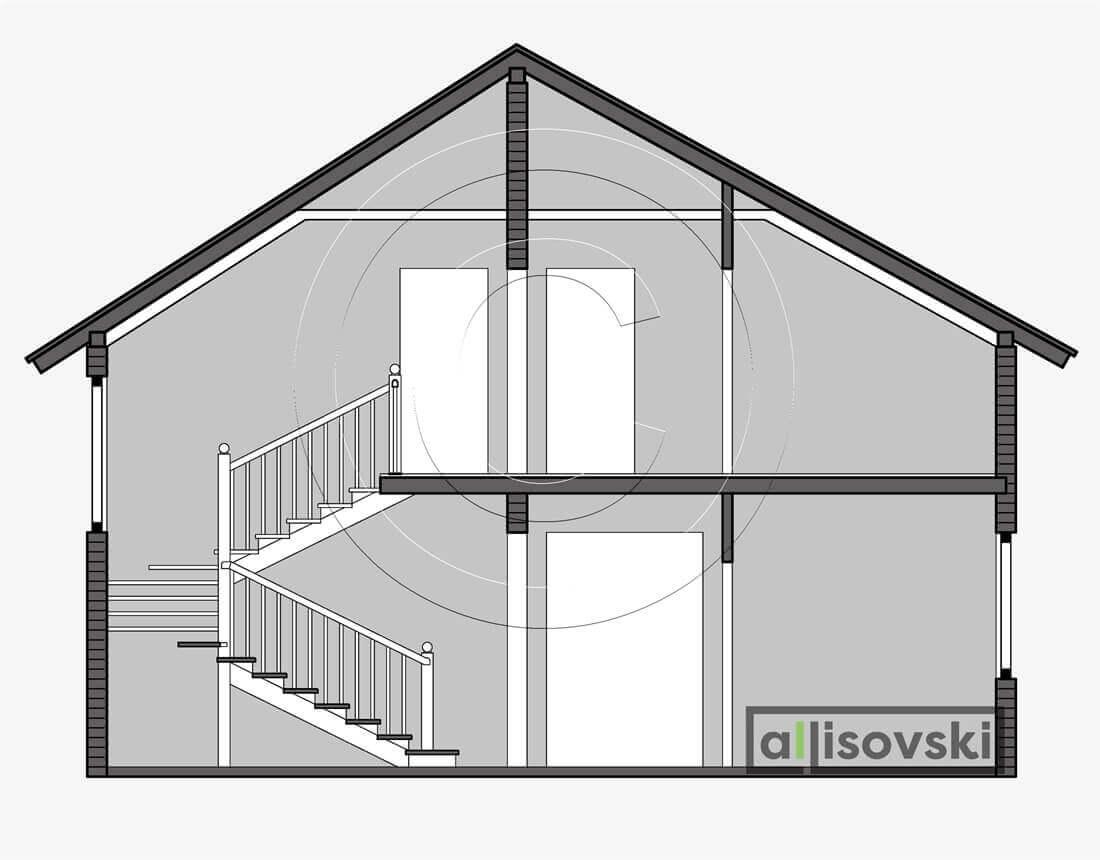 Разрез дома из деревянного сруба