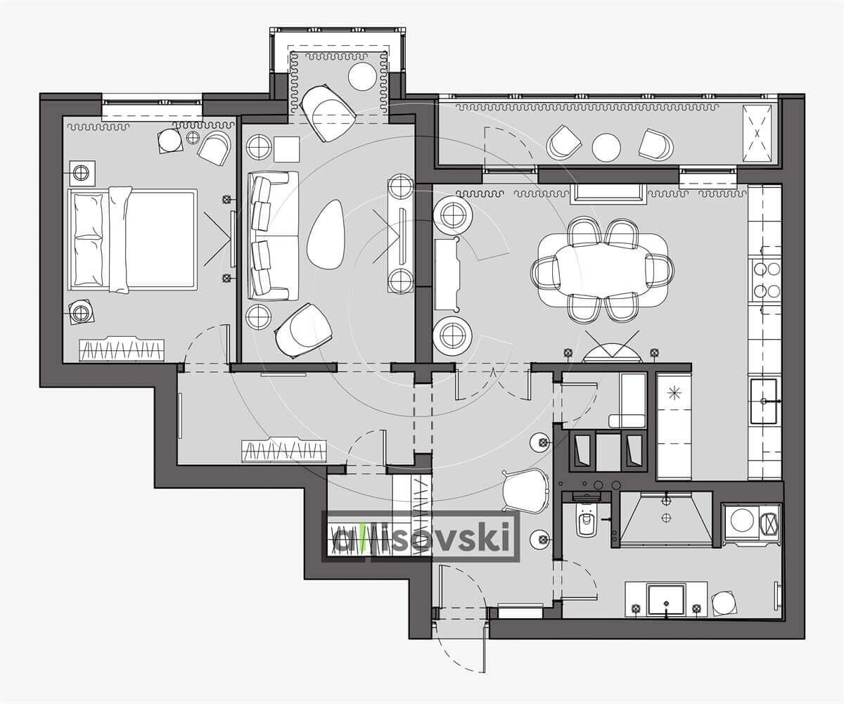 План перепланировка квартиры расположение мебели планировка чертежи Питер