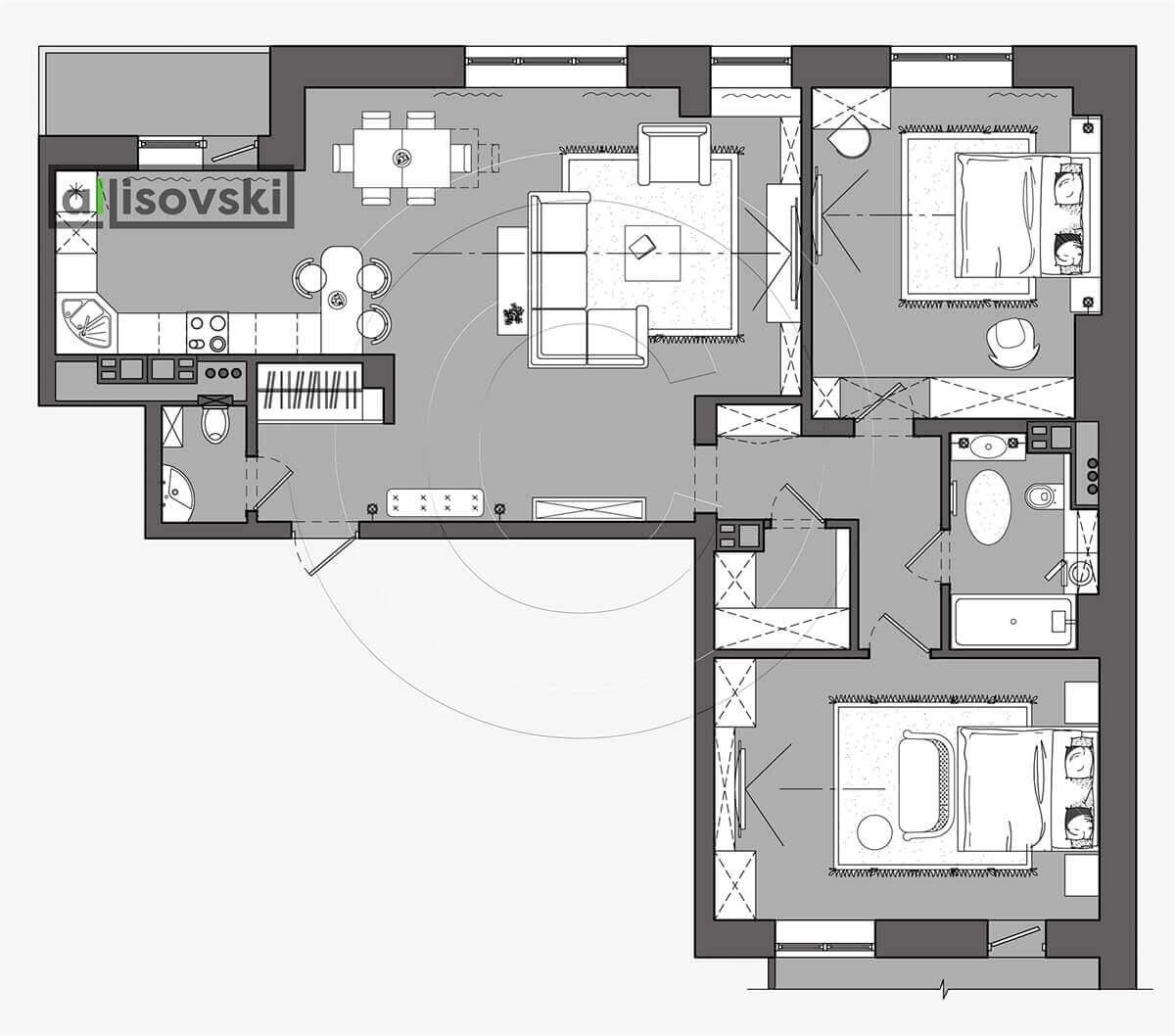 План перепланировка квартиры расположение мебели планировка чертежи 2