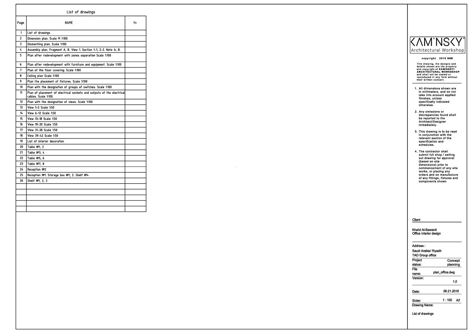 Ведомость чертежей комплекта листы технического дизайна