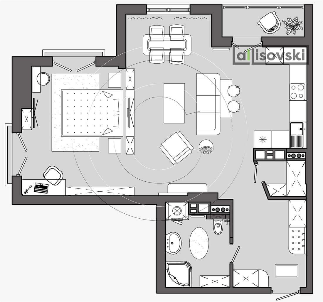 План перепланировка квартиры расположение мебели планировка чертежи Маяк 2