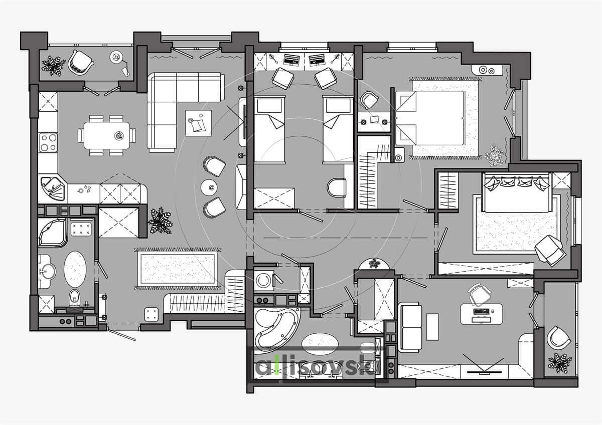 План перепланировка квартиры расположение мебели планировка чертежи Маяк 1
