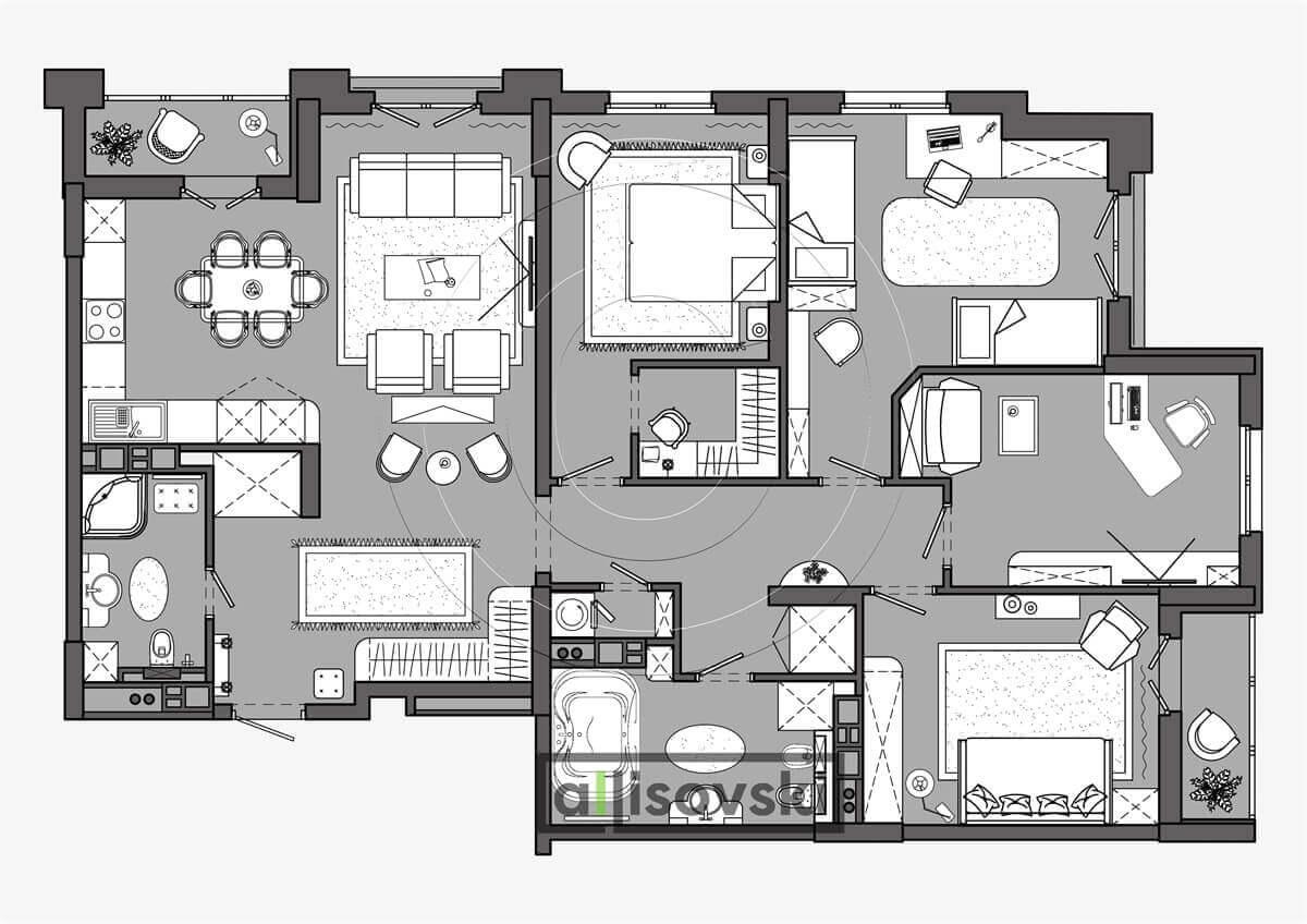 План перепланировка квартиры расположение мебели планировка чертежи Маяк 3