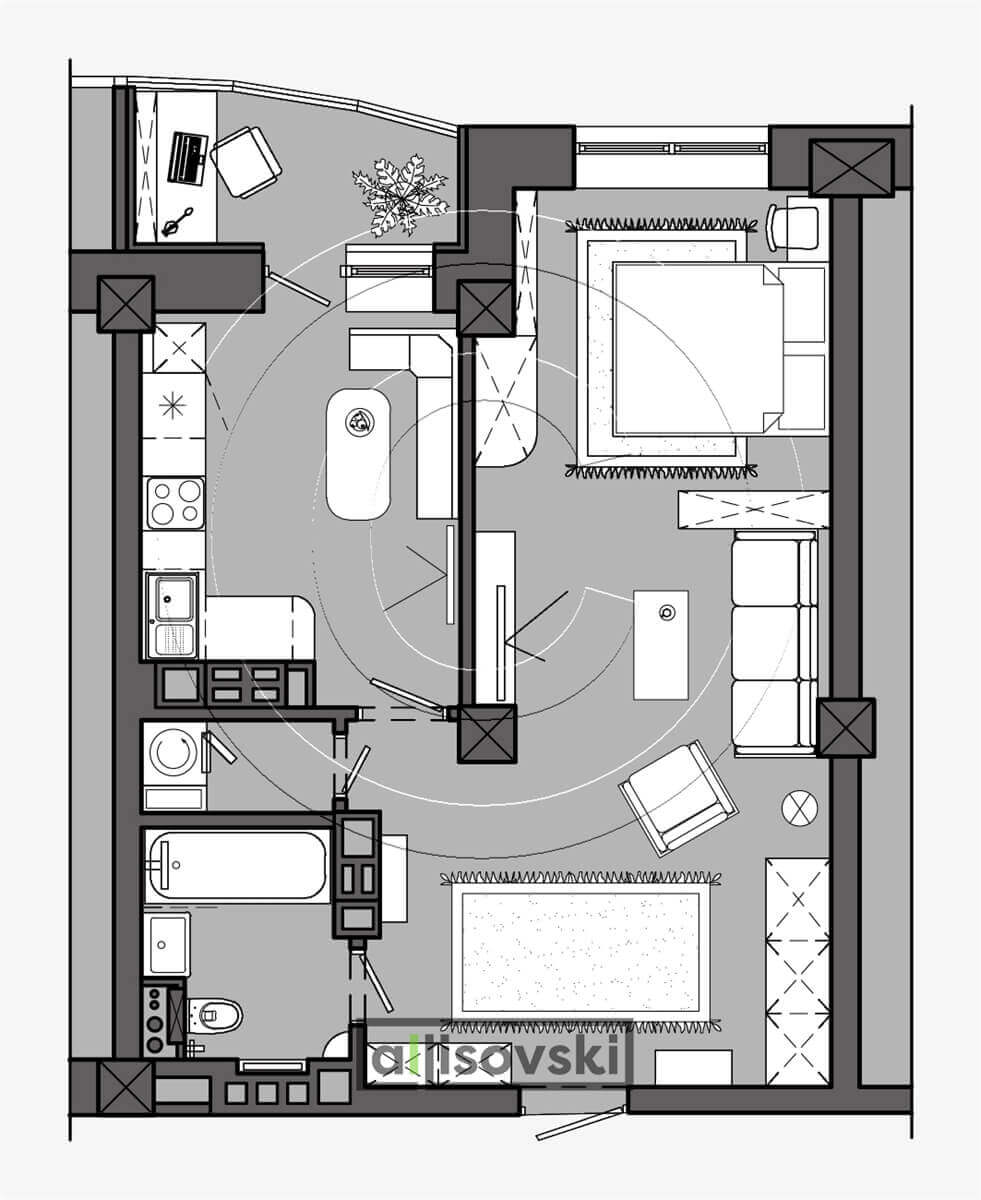 План перепланировка квартиры расположение мебели планировка чертежи Минск