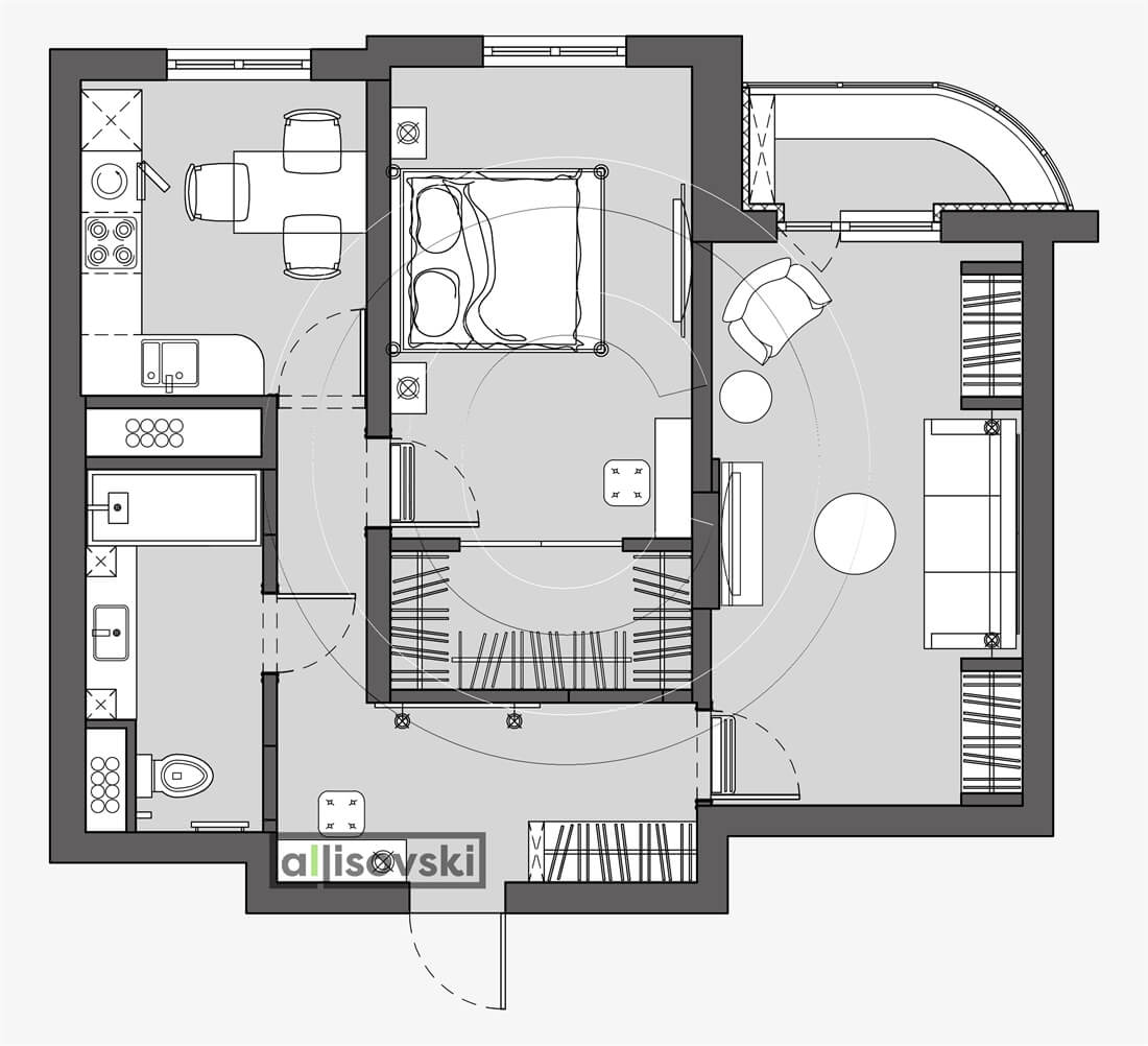 План перепланировка квартиры расположение мебели планировка чертежи Москва