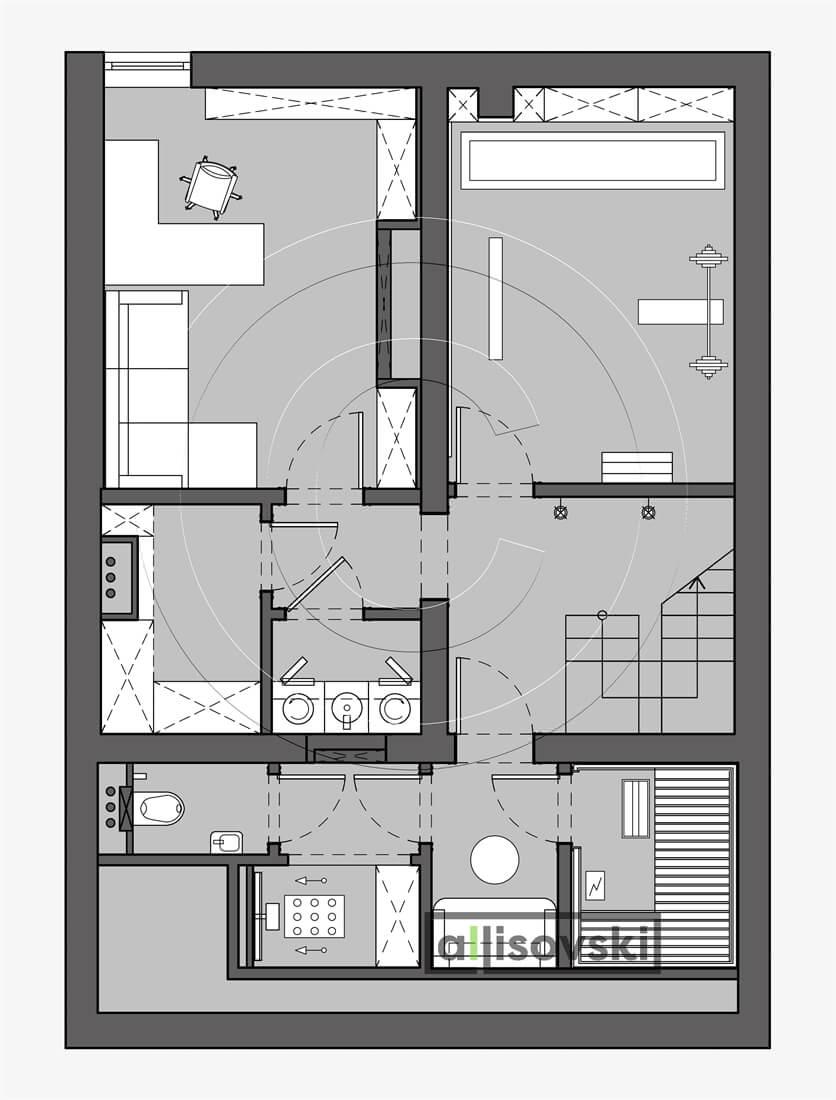 План перепланировка подвала расположение мебели планировка чертежи