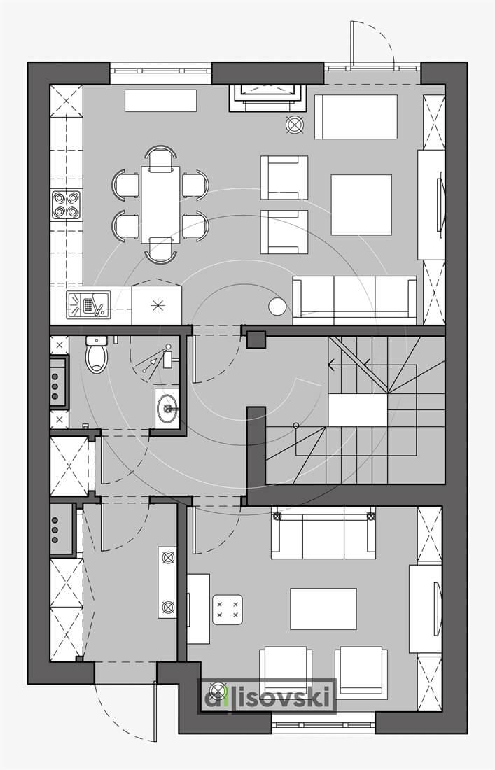 План перепланировка первого этажа расположение мебели планировка чертежи