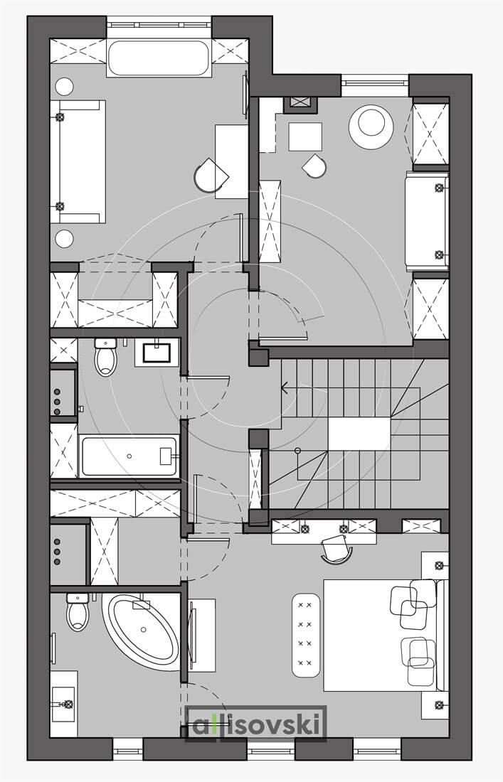 План перепланировка второго этажа расположение мебели планировка чертежи