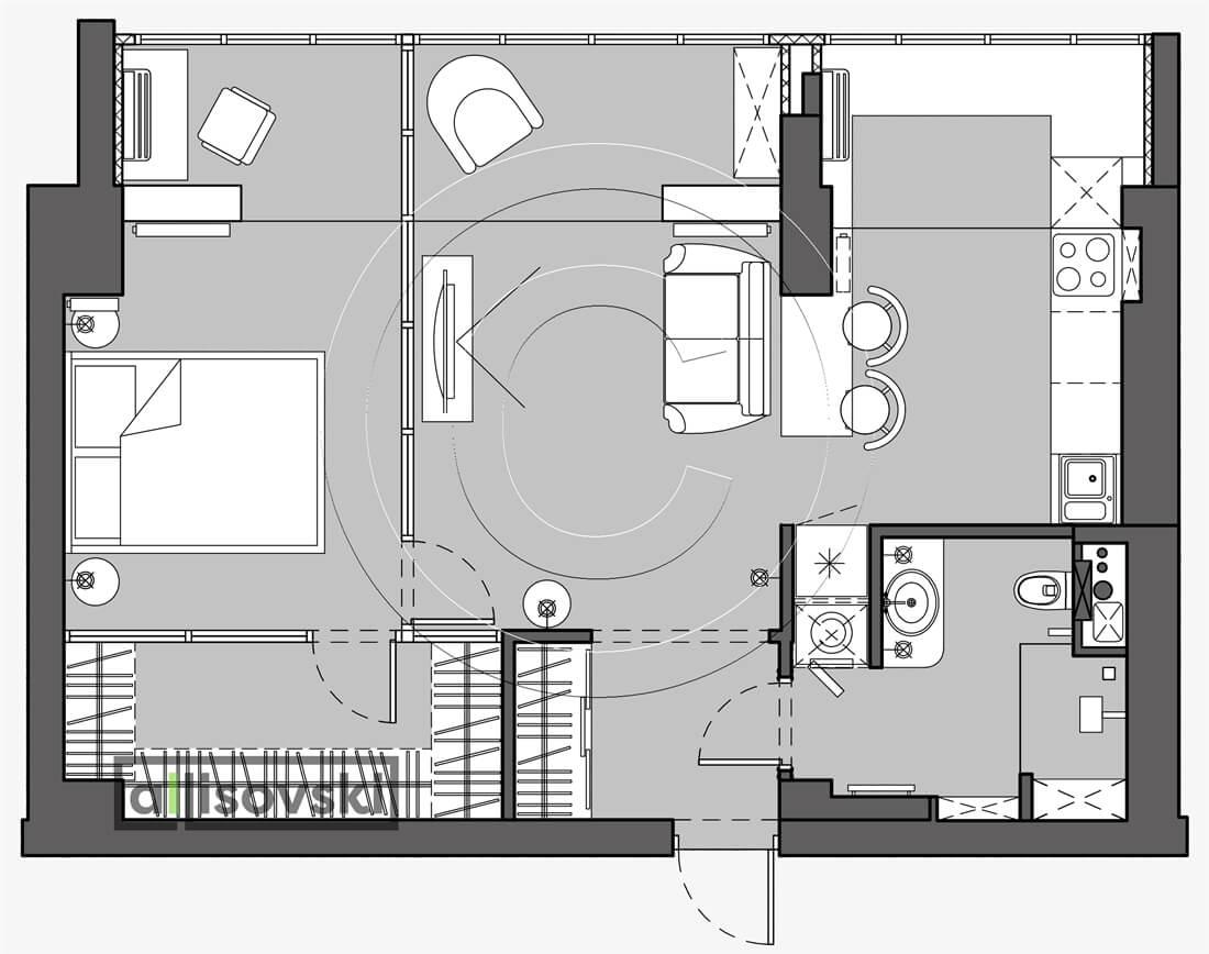 План перепланировка квартиры расположение мебели планировка чертежи Басман