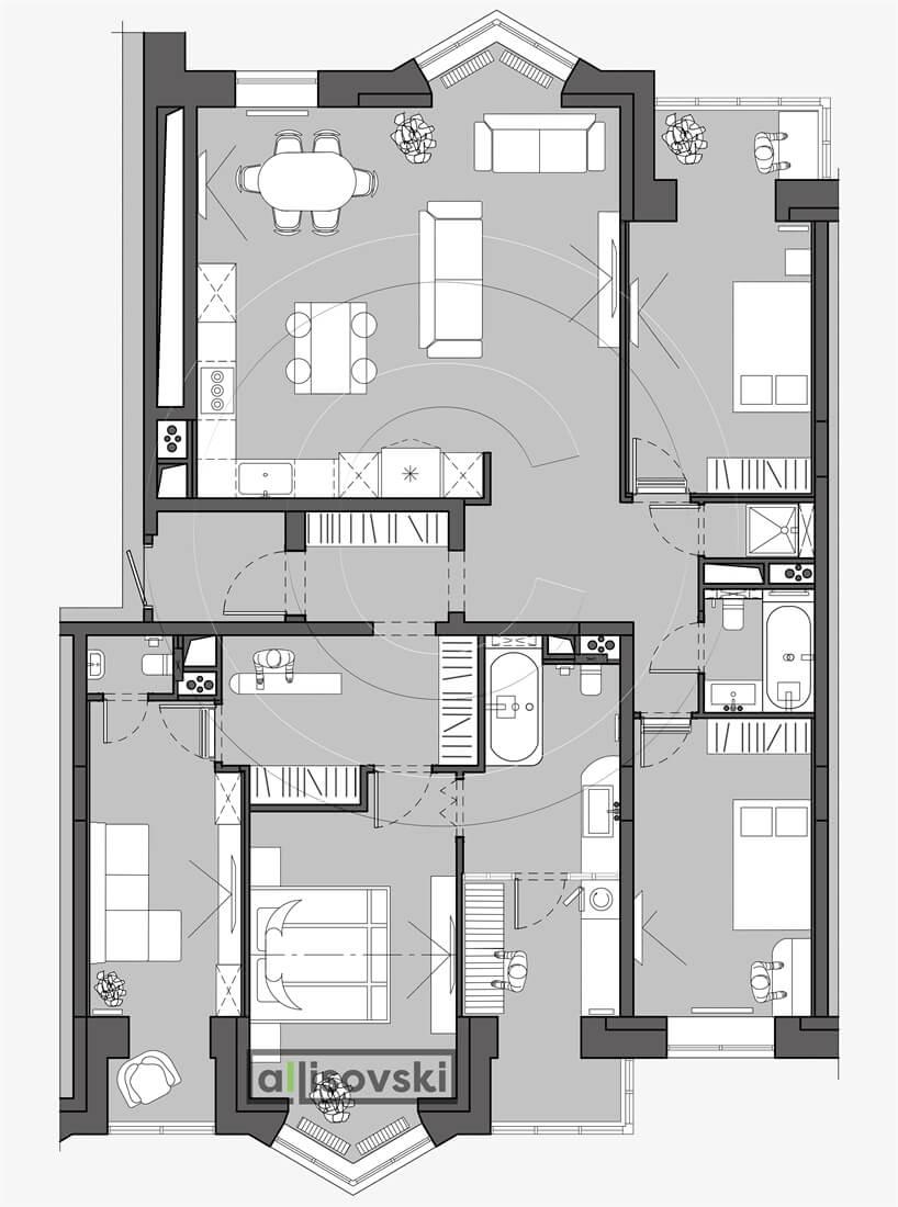 План перепланировка квартиры расположение мебели планировка чертежи Бутовские аллеи