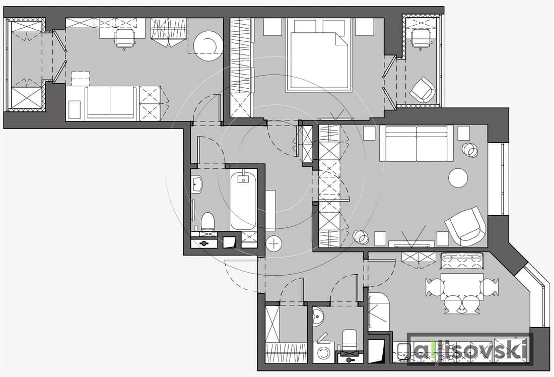 План перепланировка квартиры расположение мебели планировка чертежи Домодедово