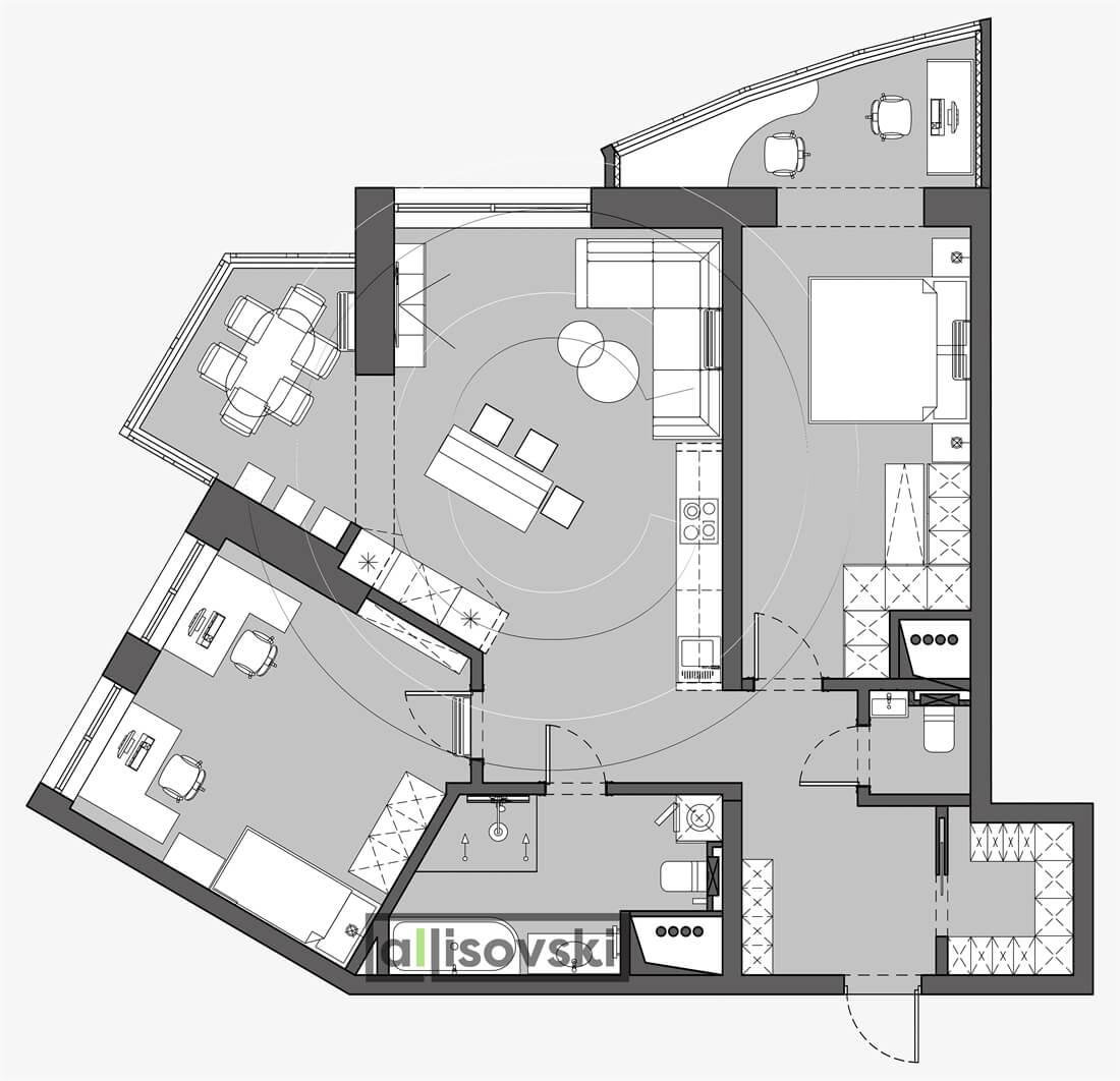 План перепланировка квартиры расположение мебели планировка чертежи Кировоград