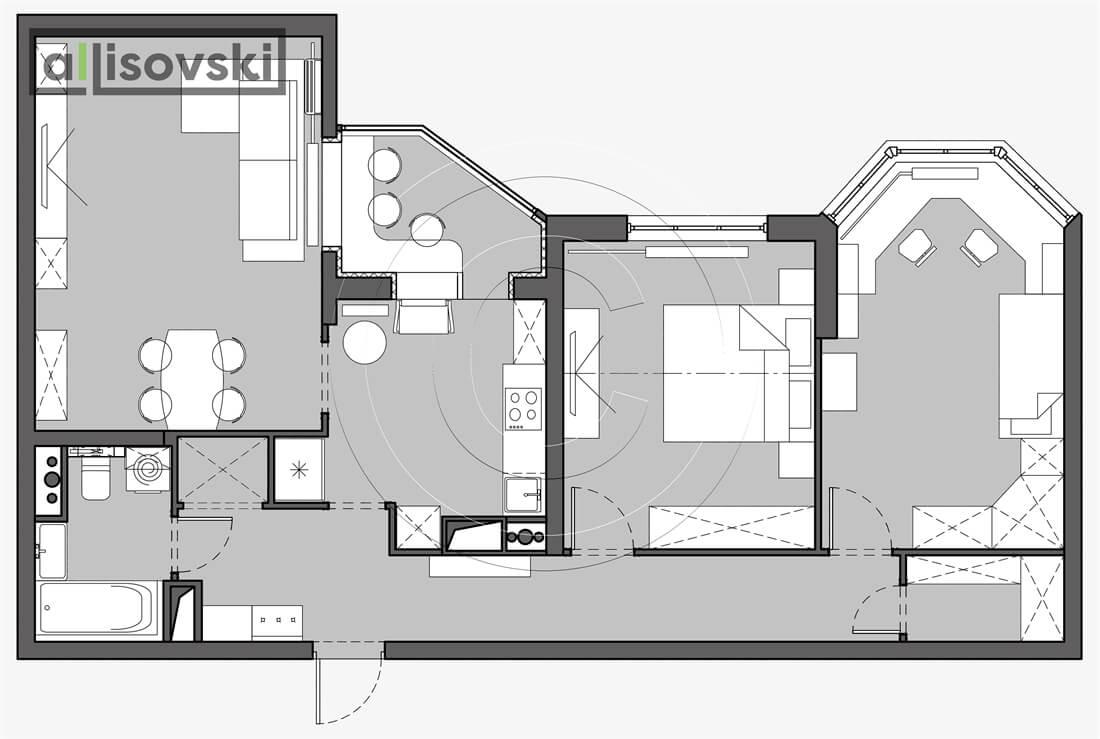 План перепланировка квартиры расположение мебели планировка чертежи Краснознаменск