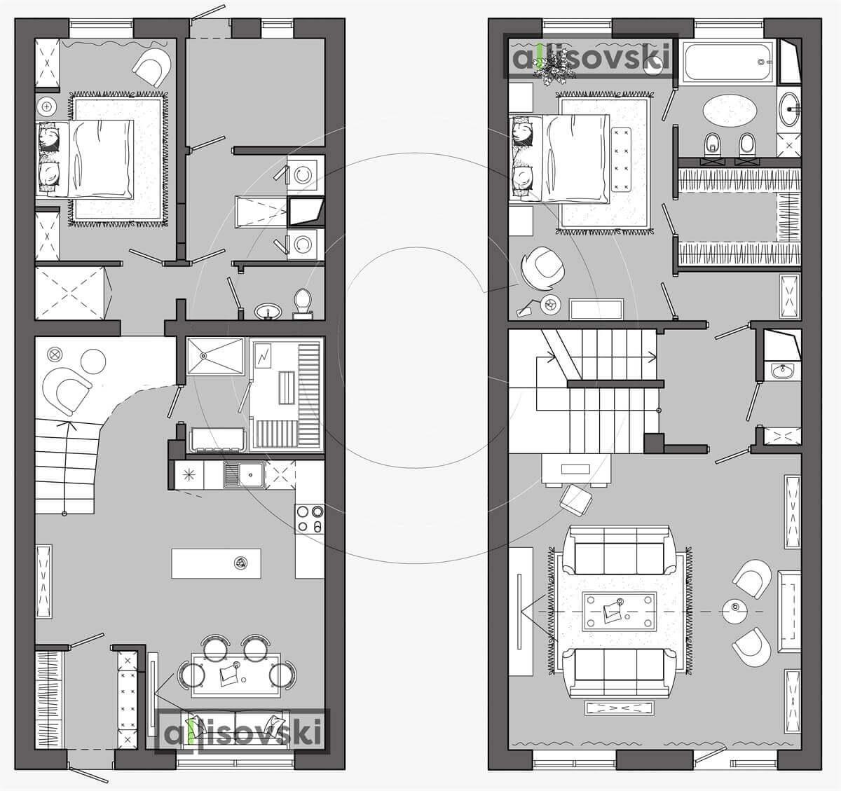 План перепланировка дома расположение мебели планировка чертежи 1