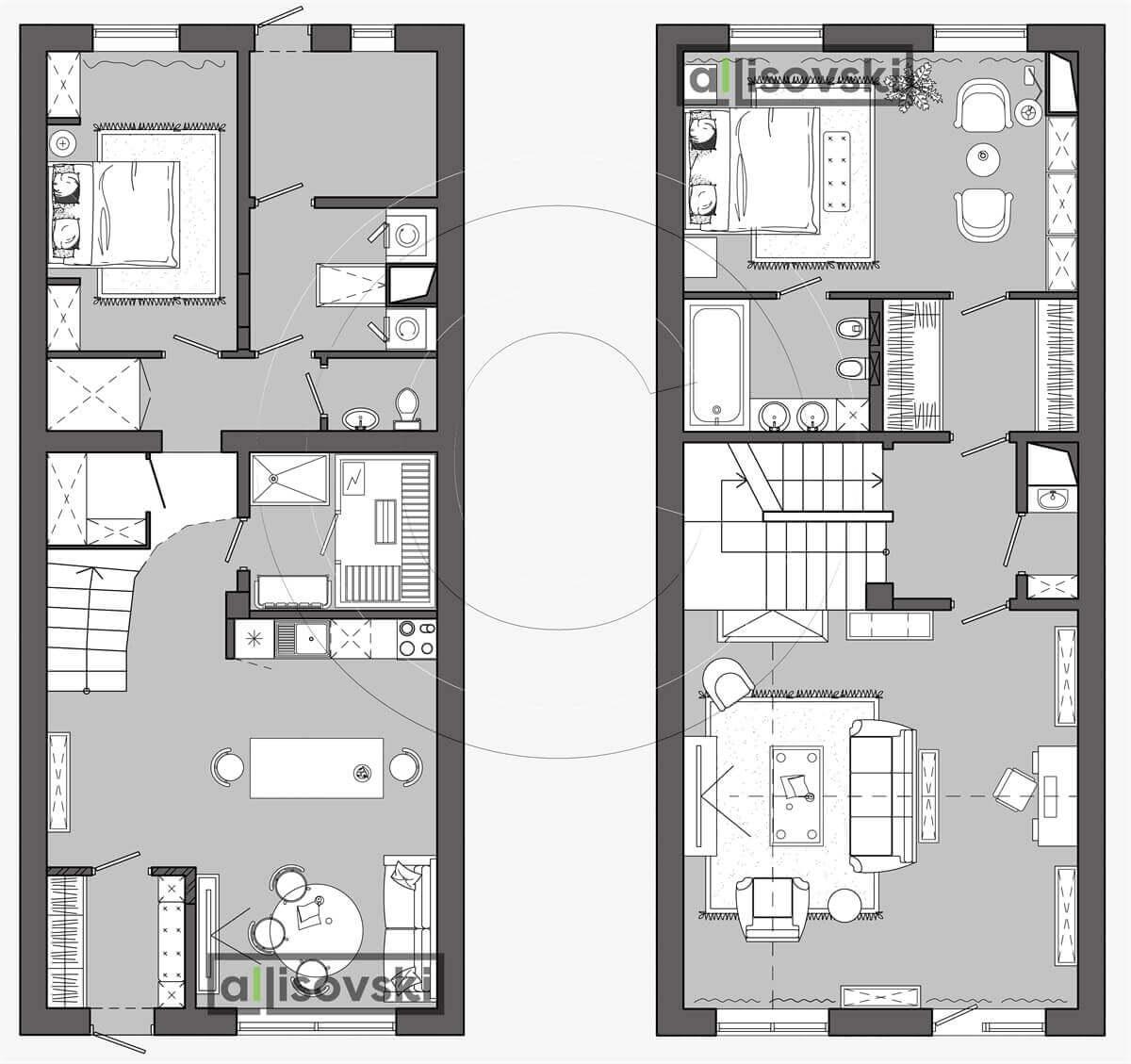 План перепланировка дома расположение мебели планировка чертежи 2