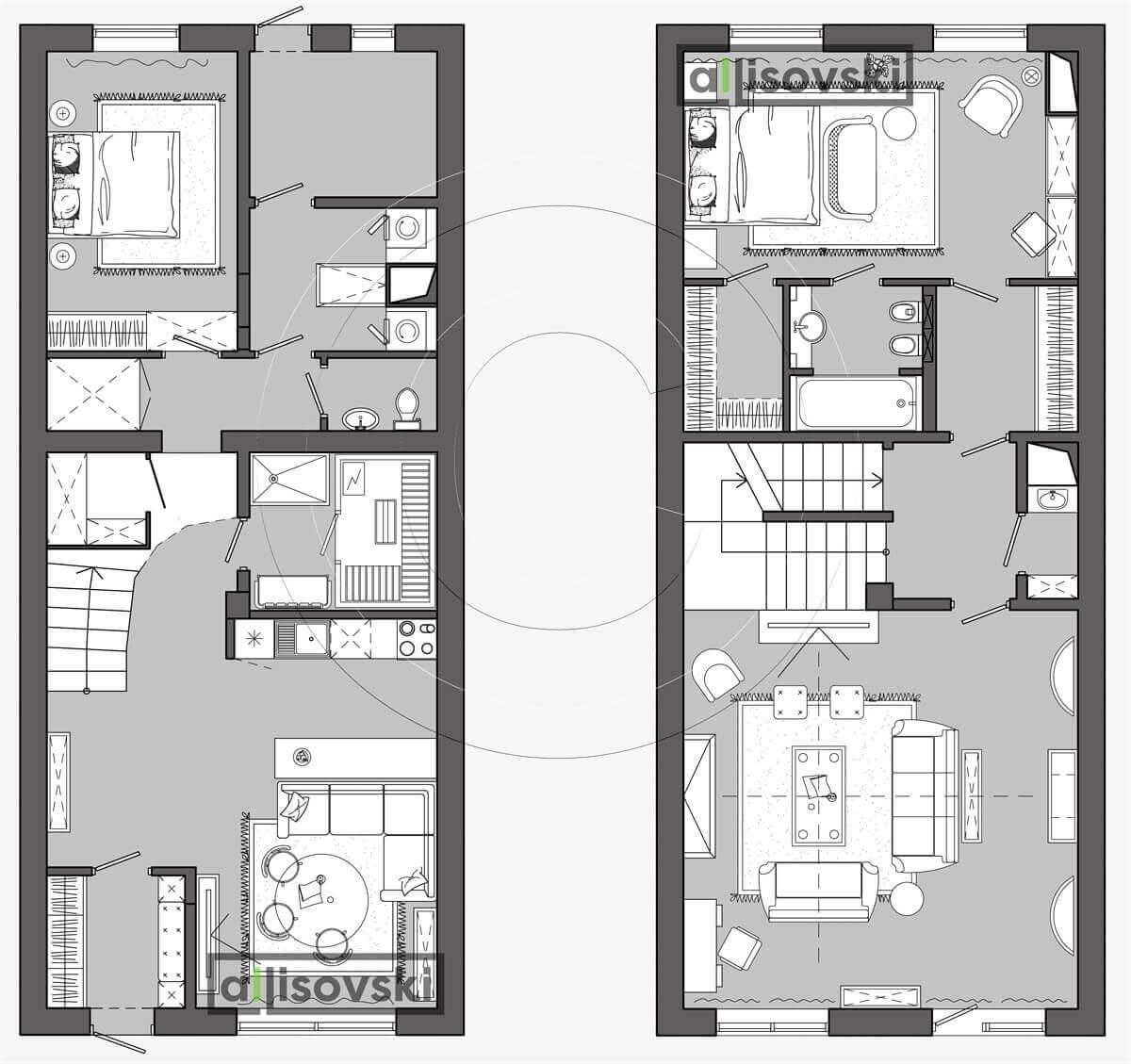 План перепланировка дома расположение мебели планировка чертежи 3