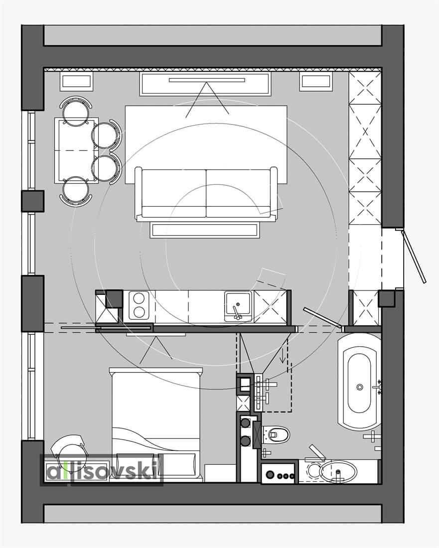 План перепланировка квартиры расположение мебели планировка чертежи Новогорск