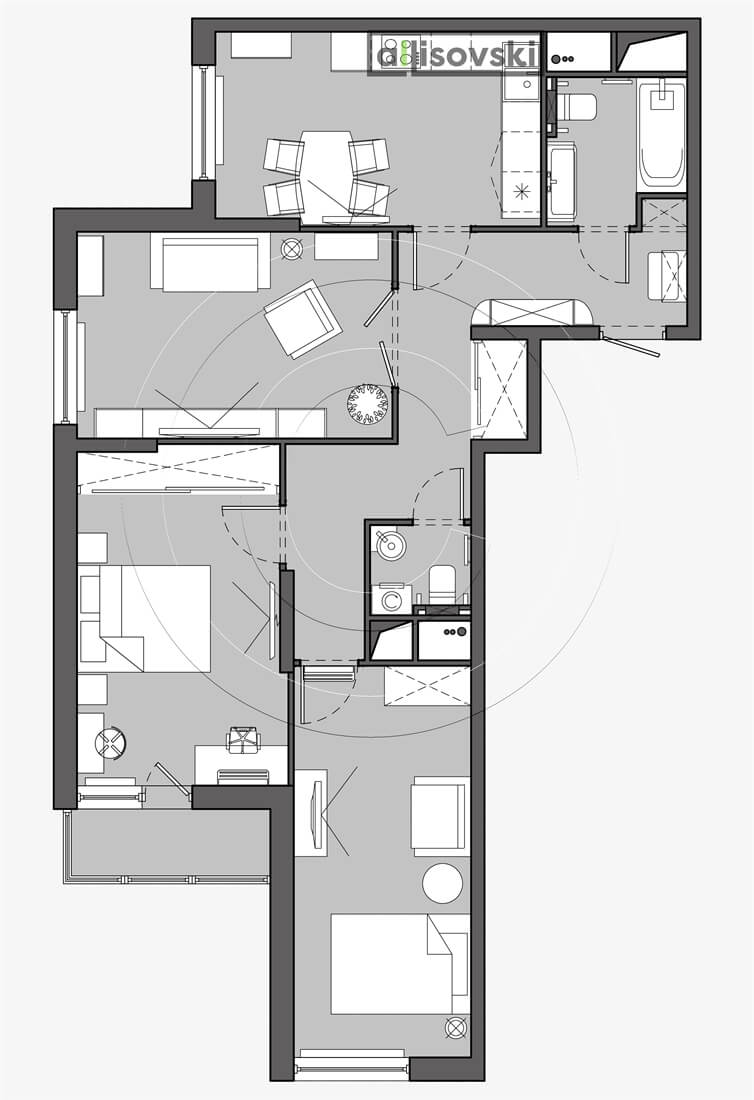 План перепланировка квартиры расположение мебели планировка чертежи Реутов