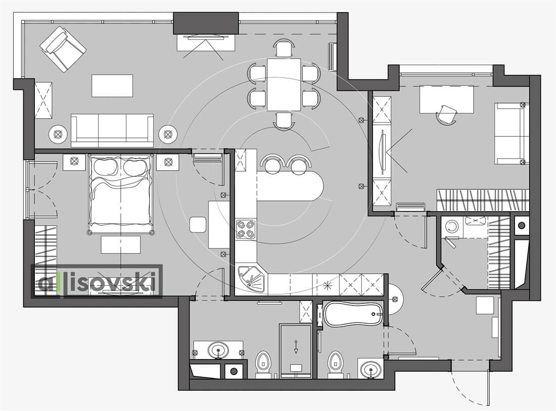 План перепланировка квартиры расположение мебели планировка чертежи