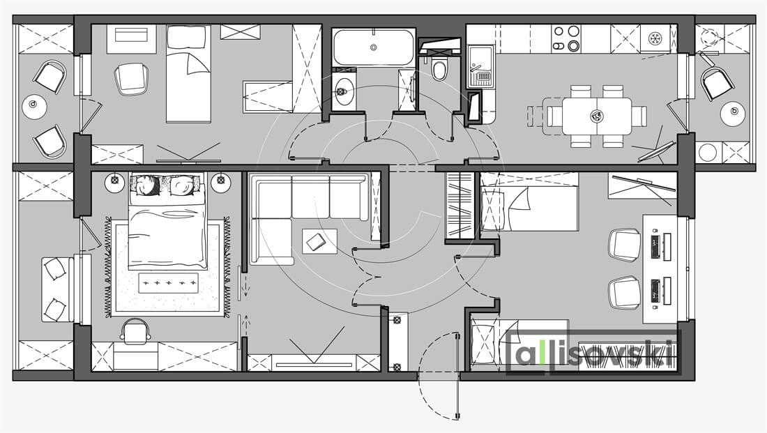 План перепланировка квартиры расположение мебели планировка чертежи 1