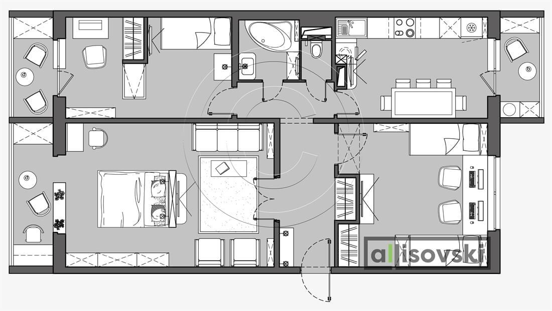План перепланировка квартиры расположение мебели планировка чертежи 3