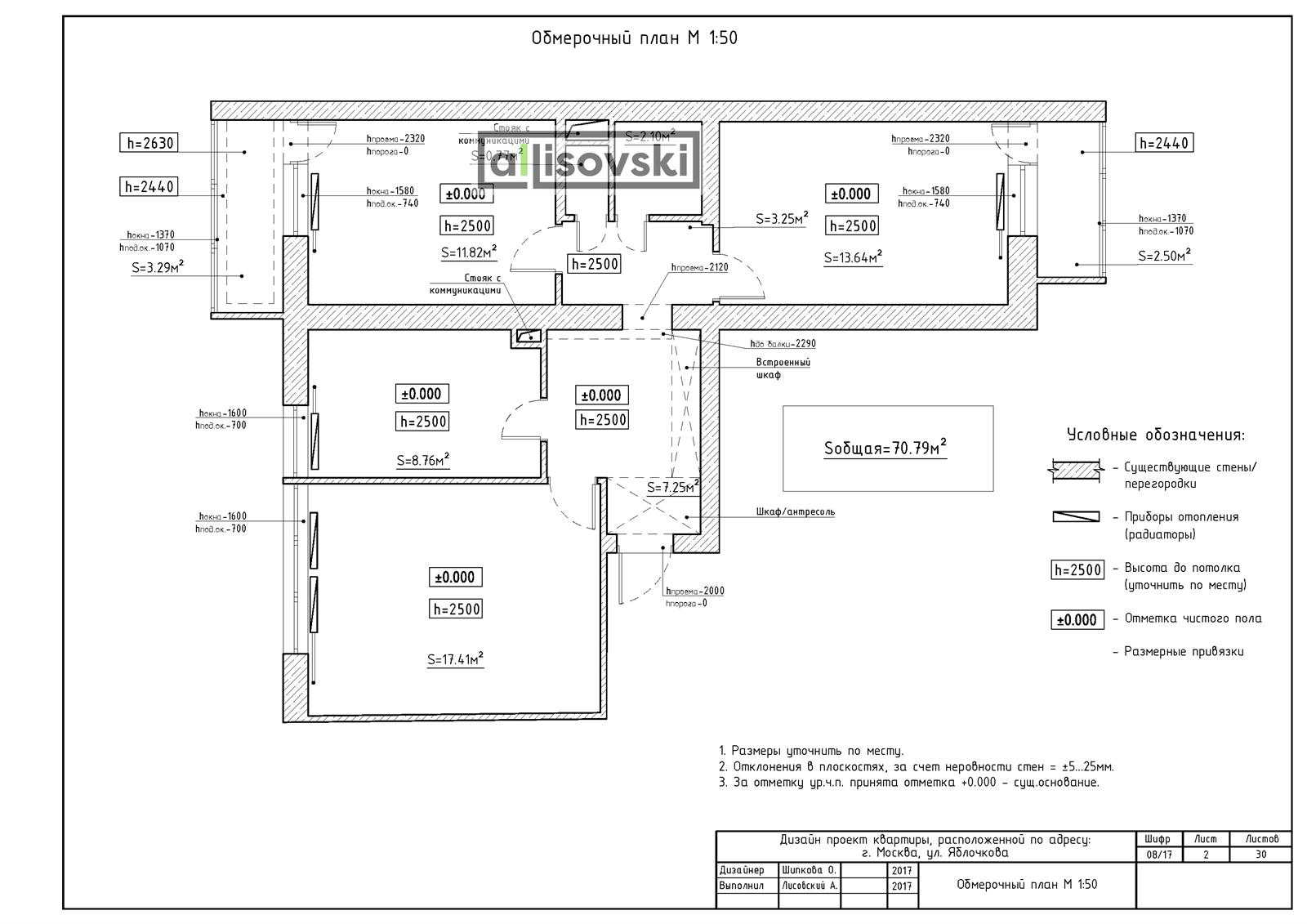 Обмерочный план и обмер квартиры