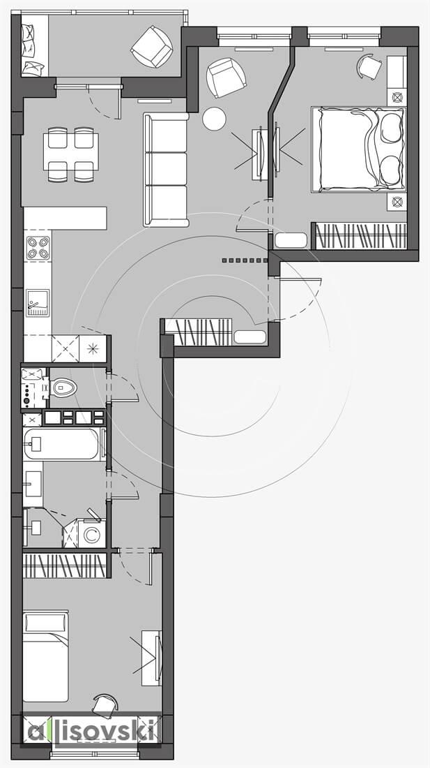 План перепланировка квартиры расположение мебели планировка чертежи Брейгель