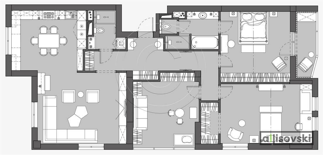 План перепланировка квартиры расположение мебели планировка чертежи Малания