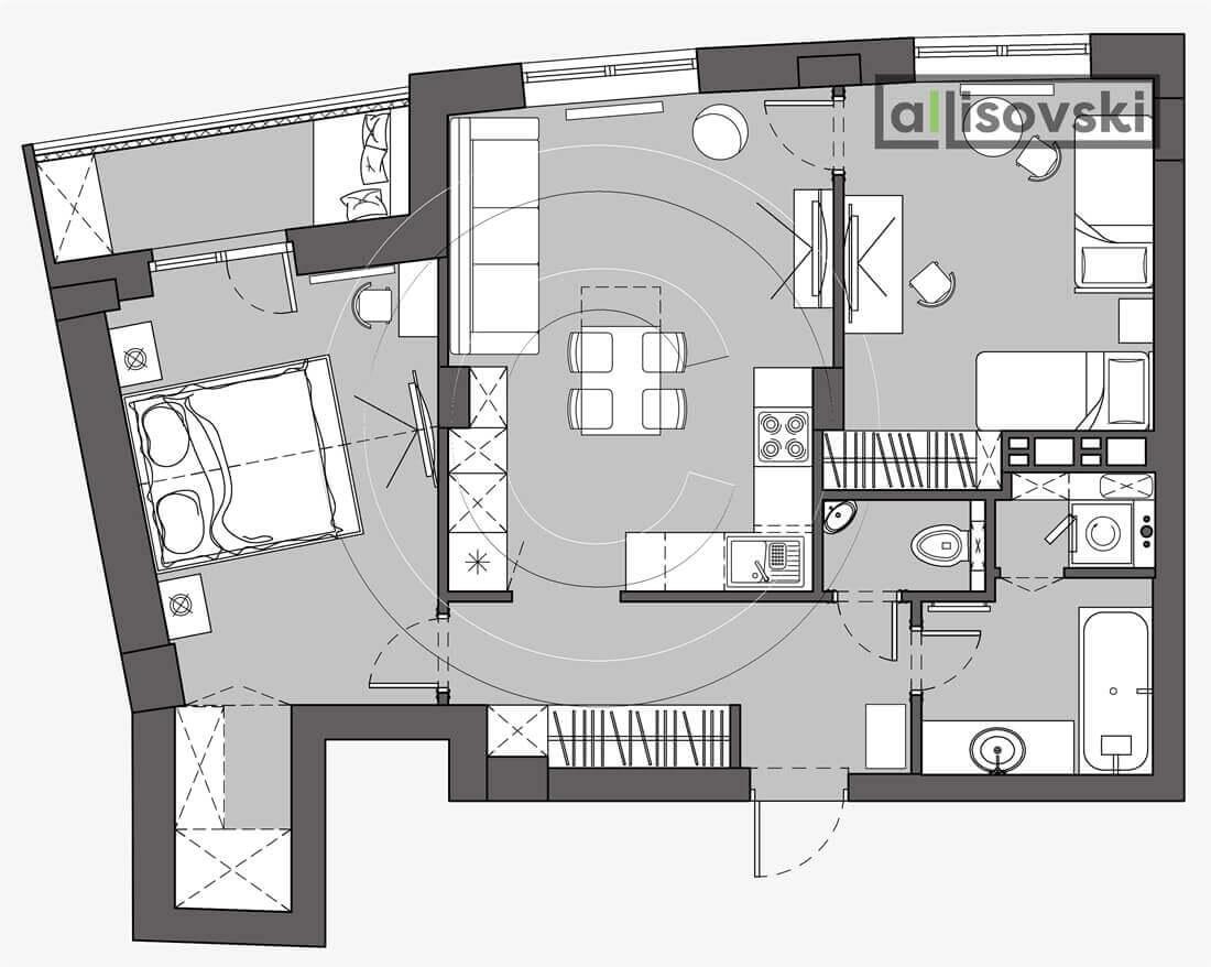 План перепланировка квартиры расположение мебели планировка чертежи Вивальди