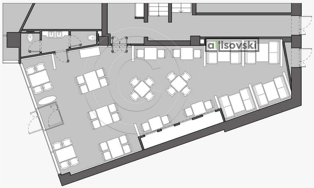План перепланировка ресторана расположение мебели планировка чертежи