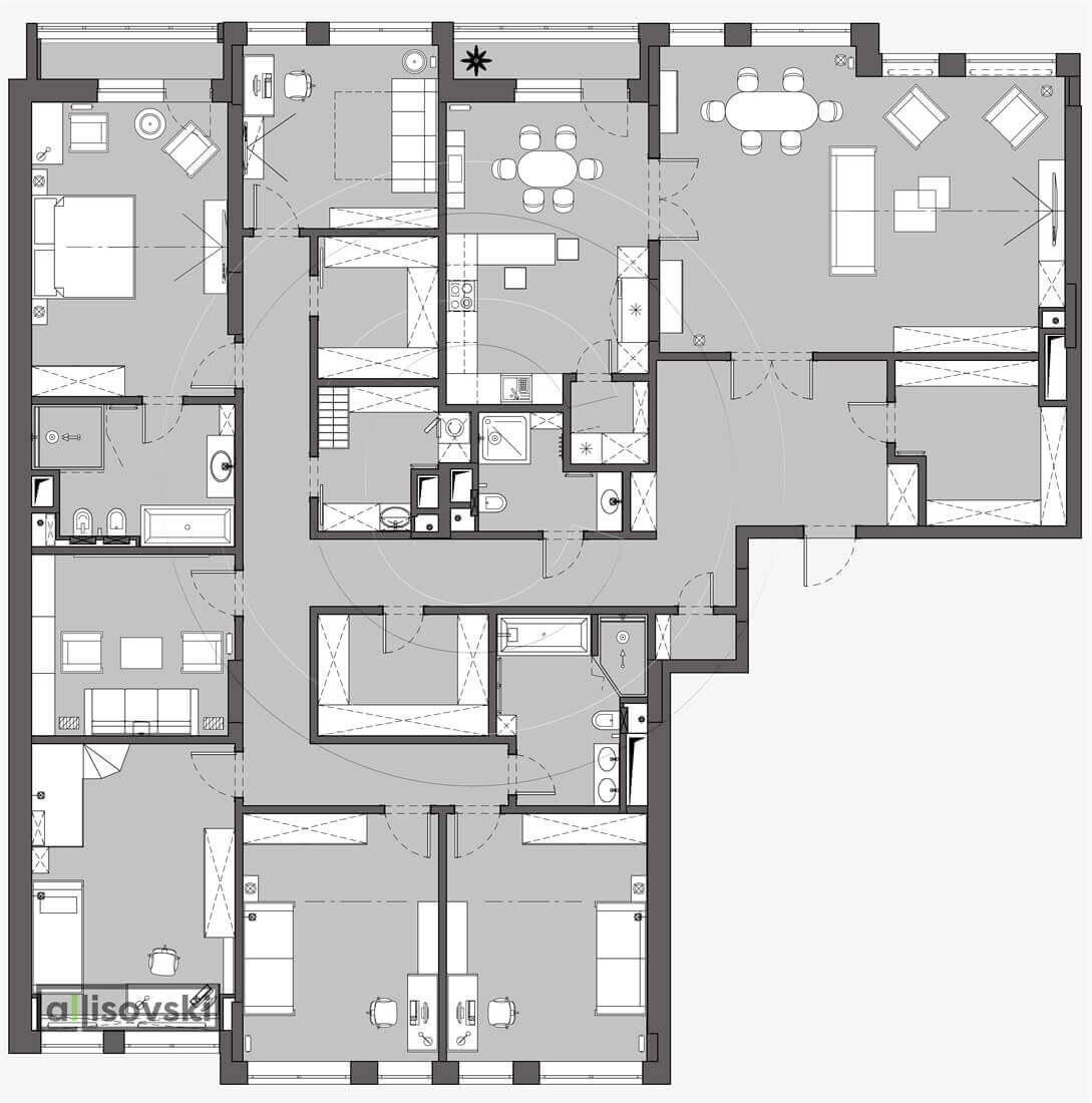 План перепланировка квартиры расположение мебели планировка чертежи Баррин