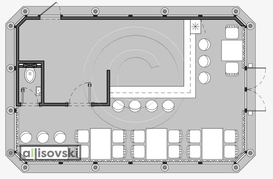 План перепланировка кафе расположение мебели планировка чертежи