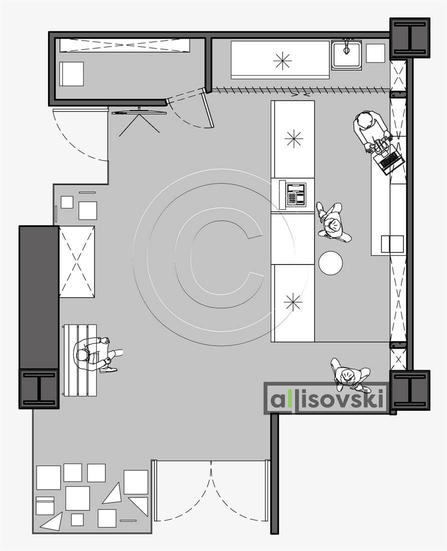 План перепланировка магазина расположение мебели планировка чертежи
