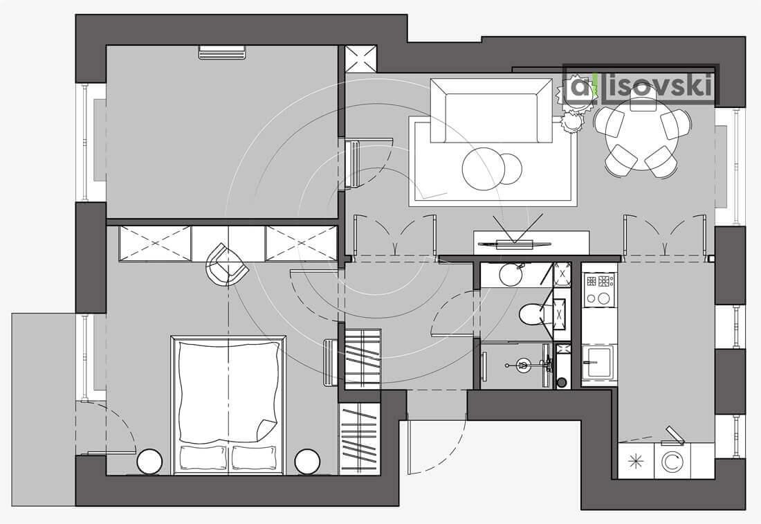 План перепланировка квартиры расположение мебели планировка чертежи Красная пресня