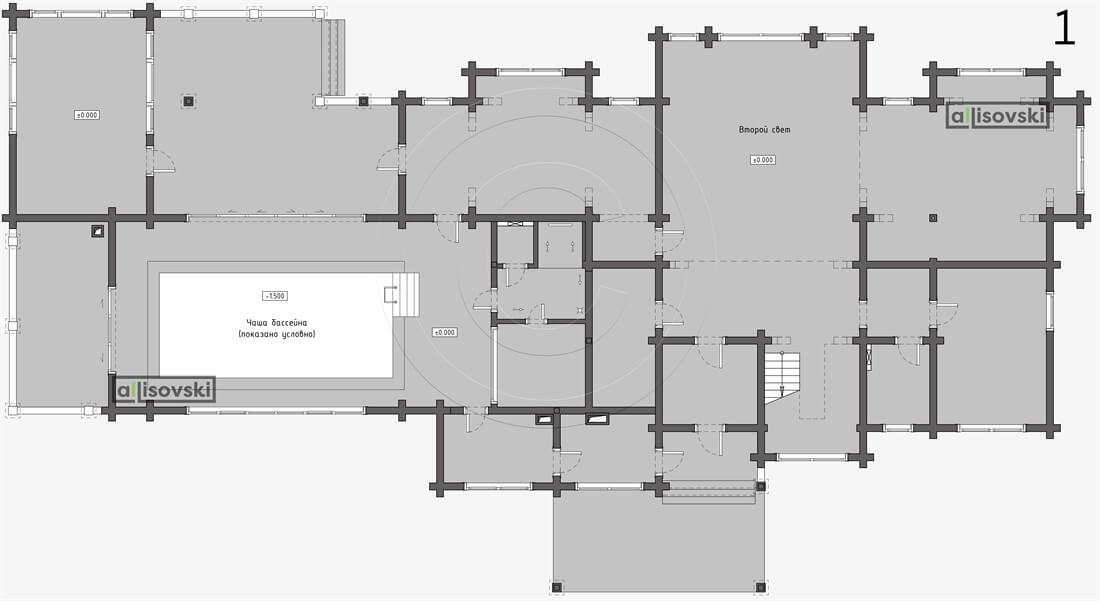 Планировка дома из бруса первый этаж