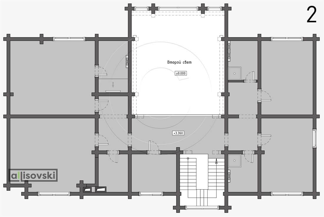 Планировка дома из бруса второй этаж