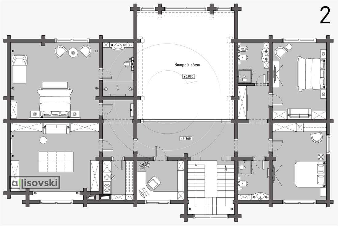 Планировка дома из бруса 2