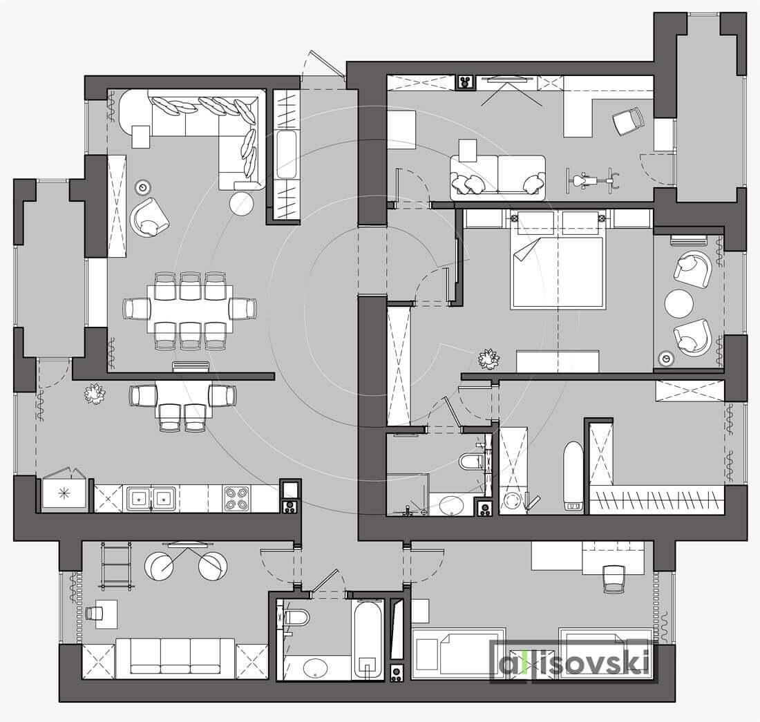 План перепланировки квартиры расположение мебели на плане чертежи