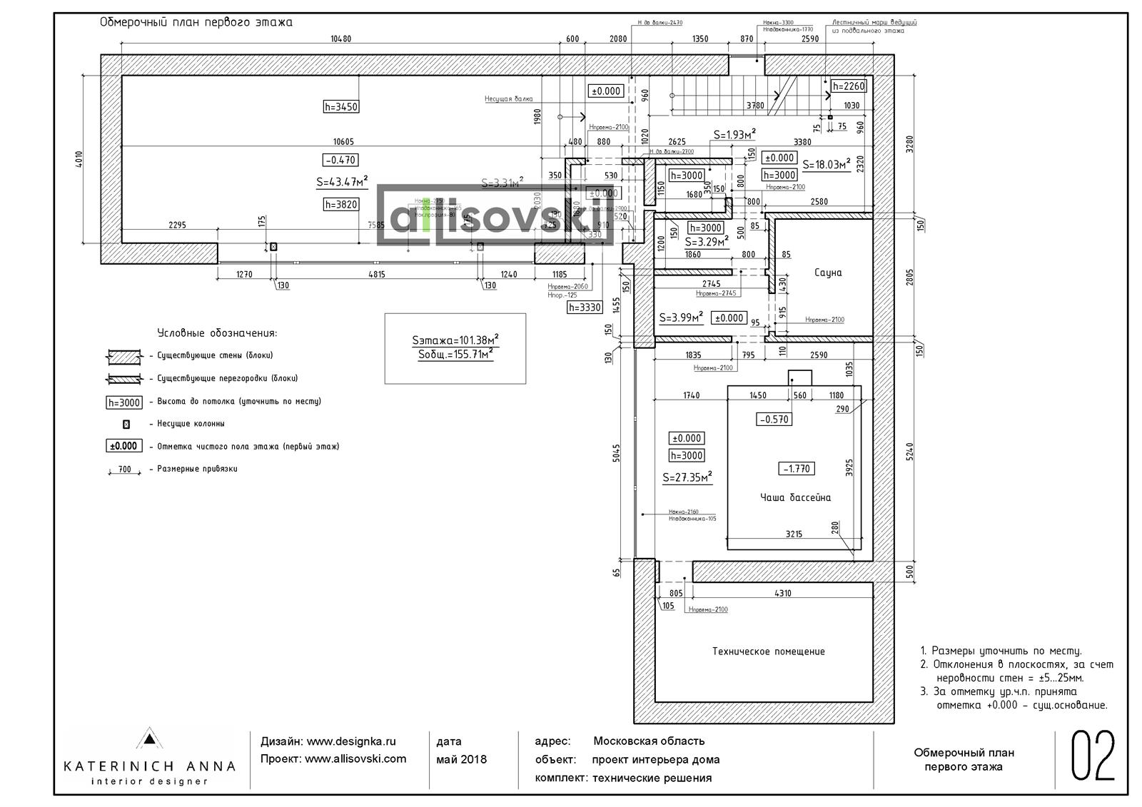 Обмерочный план и обмер дома