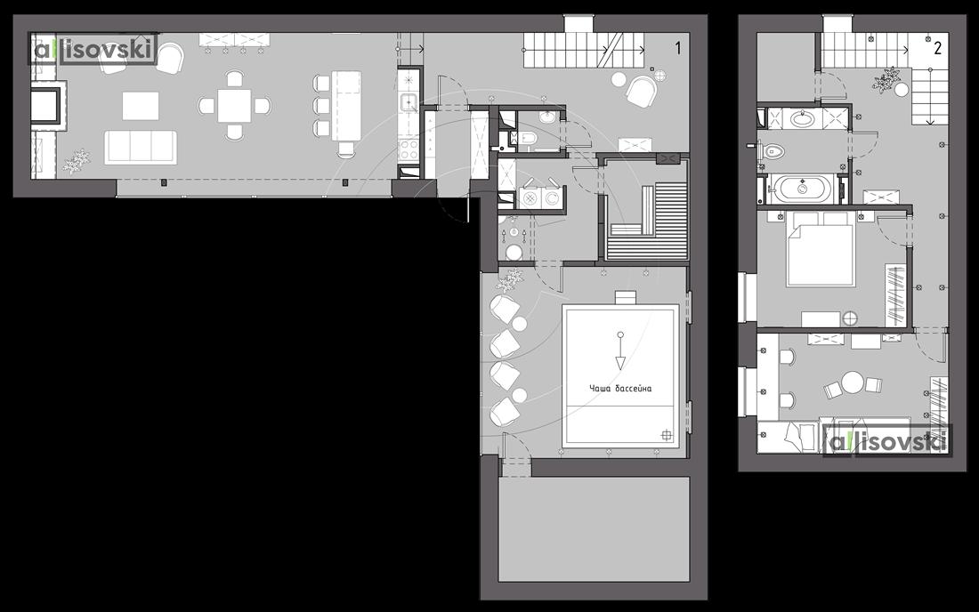 План перепланировка дома расположение мебели на плане чертежи