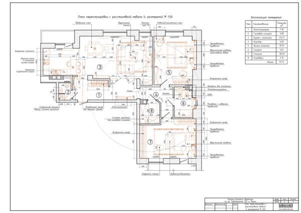 План перепланировки с мебелью, размерами и обозначениями