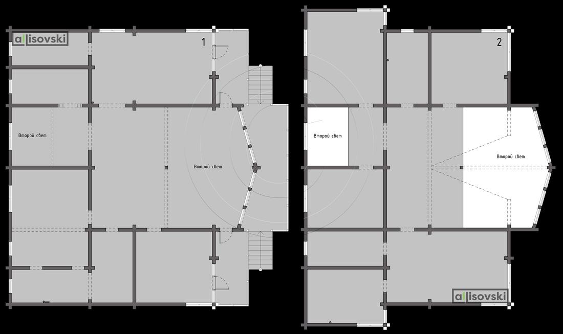 Обмерочные планы дома из деревянного бруса