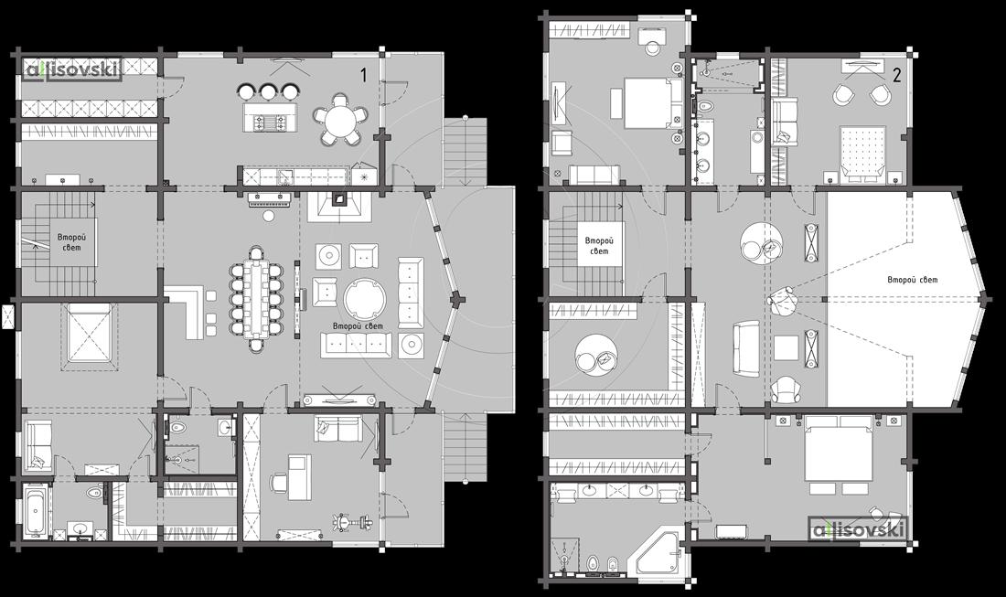 Планировка дома из бруса и расположение мебели