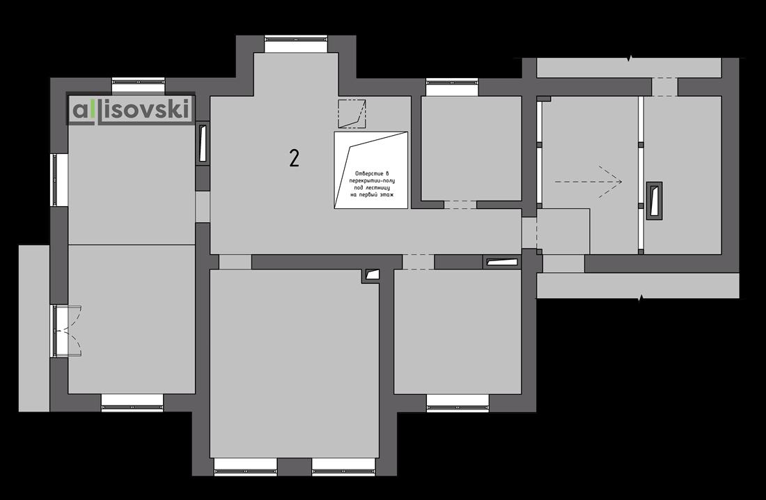 Обмерочный план частного дома второй этаж