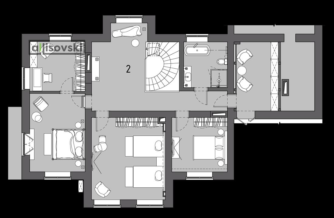 Планировка частного дома второй этаж