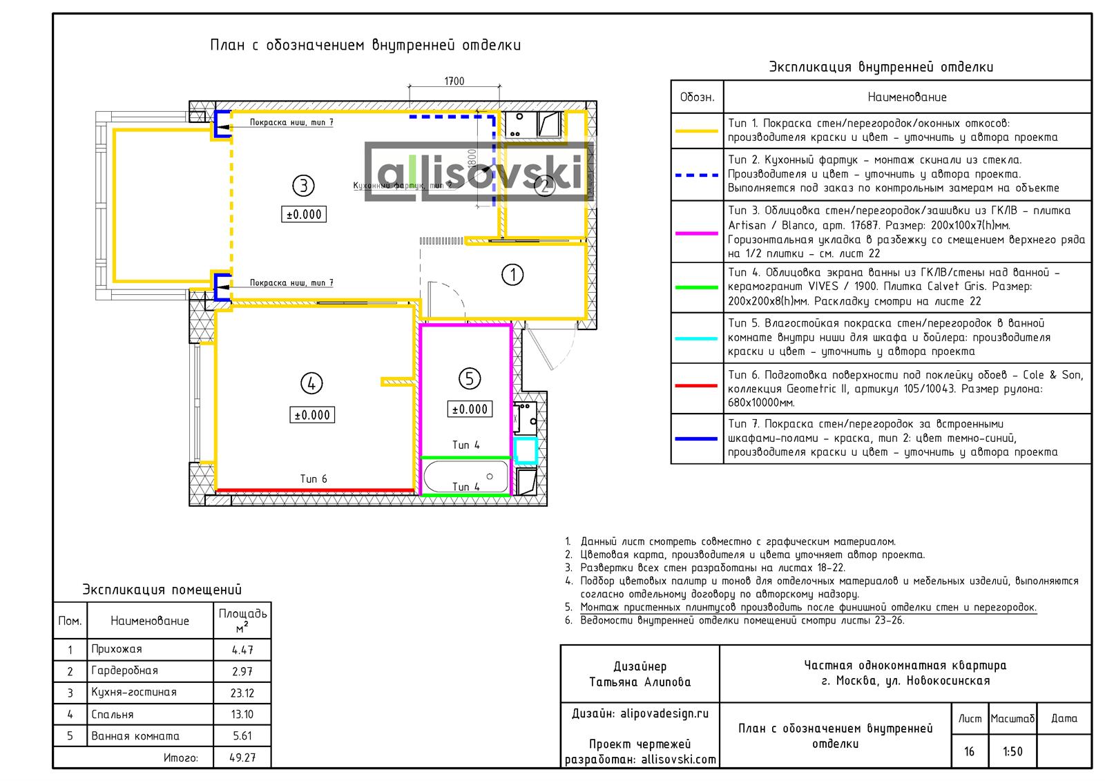 План с обозначением внутренней отделки чертежи