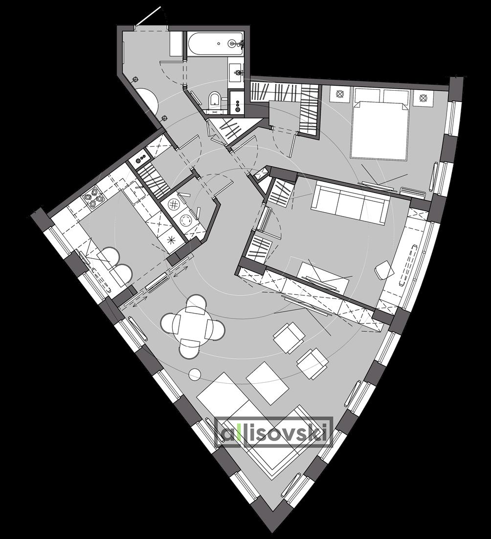 Новая планировка и расстановка мебели квартира ЖК Лефорт