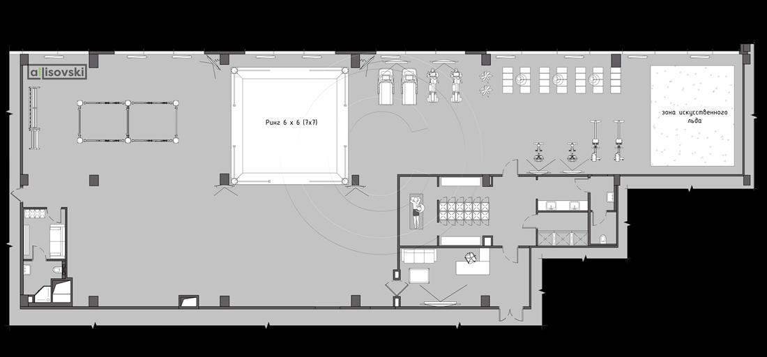 Планировка фитнес клуба тренажерного зала