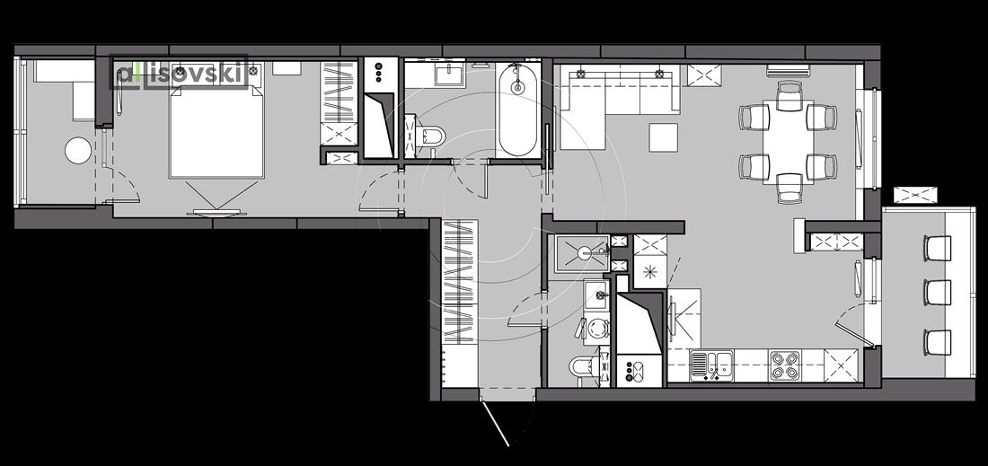 Проект квартиры мебель UP-квартал Сколковский