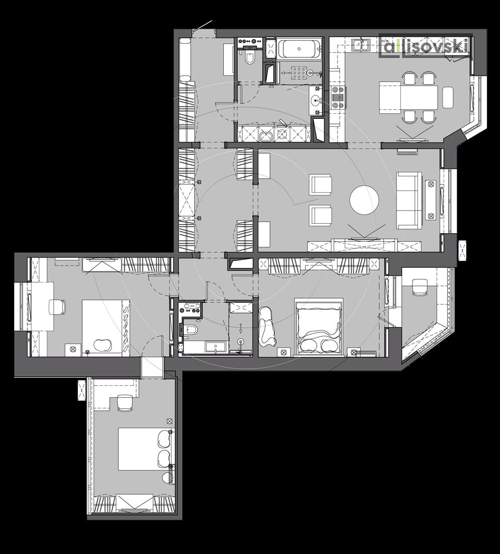 Планировка квартиры с расстановкой мебели чертежи